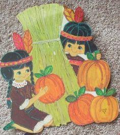Native American Girl & Boy Die Cut Card by Ambassador, 1970's