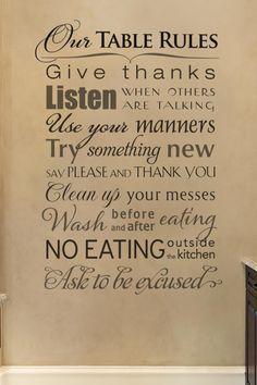 Kitchen Wall Decals, Sayings, and Quotes by WiseDecor Wall Lettering Kitchen Wall Quotes, Kitchen Wall Decals, Kitchen Sayings, Wall Sayings, House Rules, Letter Wall, Sign Quotes, Qoutes, Cool Kitchens