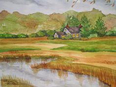 Rock Harbor Marsh High Tide - Orleans Cape Cod - watercolor