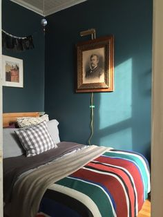 A Tiny Bold and Dark Blue Brooklyn Bedroom | Apartment Therapy