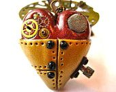 Steampunk Polymer Clay Filter Heart Pendant