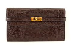 HERMES Kelly Long Wallet / Clutch Matte Havanne Alligator gold hardware