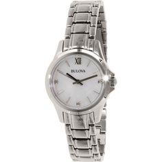 Bulova Women's Diamond 96P152 Silver Stainless-Steel Quartz Watch