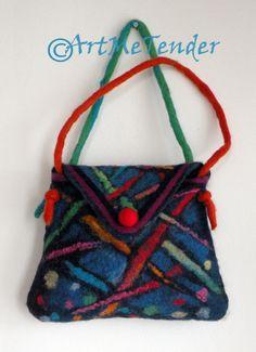 Wet Felt handbag soft wool Felt artistic bag bright by artmetender, $45.00