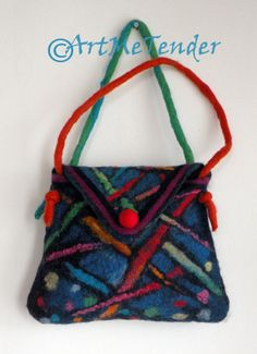 Wet Felt handbag soft wool Felt artistic bag bright by artmetender, $45.00