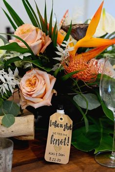 Wedding favor ideas - beach, summer, colorful, bird of paradise, flowers, take a shot roses, mini bottle {McLaughlin Photo & Video}