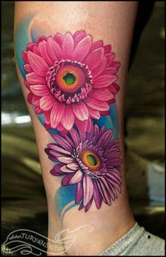 5a7309e54 Gerbera daisy flowers by Oleg Turyanskiy: Tattoo Inspiration - Worlds Best  Tattoos
