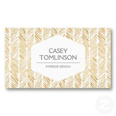 GOLD HERRINGBONE Customizable business card for interior designers