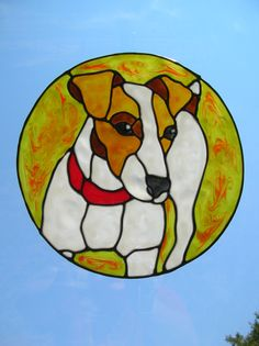 Jack Russell dog with red collar stained glass window Cling 8 x 8 inches. $8.00, via Etsy.