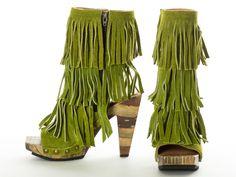 Gidget Loves these green Jericho suede fringe boots by John Fluevog