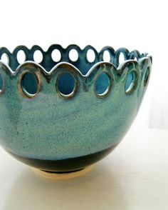 Ceramic Serving Bowl, Pottery, Stoneware, Handmade, Wheel-Thrown, Black Blue, RiverStone Pottery. $49.00, via Etsy.