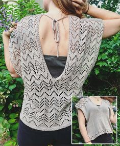 Free knitting pattern for Bauxite Top - This breezy pullover features v-neck front with chevron lace details, a deep v-neck back with all over chevron lace, and I-cord straps fastening. The chevron lace pattern is a 10 stitch repeat, charted. Fingering yarn. Designed by Samantha Stadter