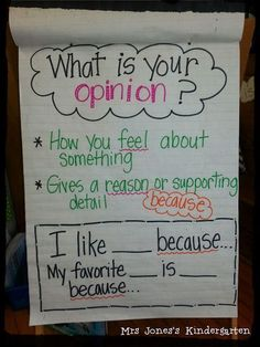 Jones's Kindergarten: Opinion Writing Ideas + Other Wintery Stuff Anchor Charts First Grade, Kindergarten Anchor Charts, Writing Anchor Charts, Kindergarten Writing Activities, 2nd Grade Activities, Work Activities, Preschool Lessons, Kindergarten Teachers, Writing Lessons