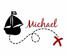 """Pirate Wall Decal Personalized Name Vinyl Wall Decals Pirate Ship Map Boy Decals for Boy Baby Nursery Boys Room 22""""H x 36""""W Wall Art FS286"""