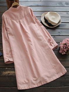 Women Long Sleeve Button Pure Color Vintage Shirt Dress at Banggood
