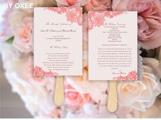 Printable Wedding ceremony fan program template Vintage Peach lace pattern by Oxee, DIY, Editable in Word