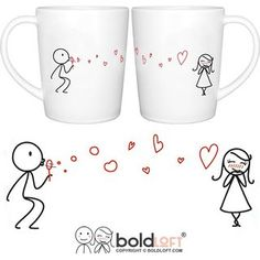 BOLDLOFT From My Heart to Yours His and Hers Matching Couple Coffee Mugs-Couple Mugs Set for Him for Her,Valentines Gifts for Boyfriend for Girlfriend,Valentines Day Mug,His and Hers Gifts for Couples