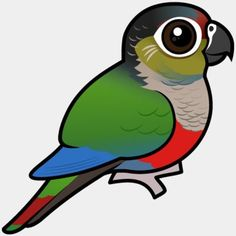 Cute Birdorable Crimson-bellied Parakeet, also known as Rose-breasted Conure or Rose-bellied Conure, in Parrots & Parakeets. The Crimson-bellied Parakeet, also Green Bodies, Conure, White Eyes, Cute Birds, Drawing Lessons, Birds Of Prey, Parakeet, Vulnerability, South America