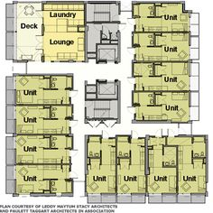 Floorplan for the Plaza Apartments in San Francisco, with communal lounges, laundry and deck space.