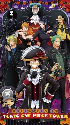 The Straw Hats. Monkey D. Luffy, Roronoa Zoro, Vinsmoke Sanji, Tony Chopper, Nico Robin, Nami, Usopp, Brooke, and Franky
