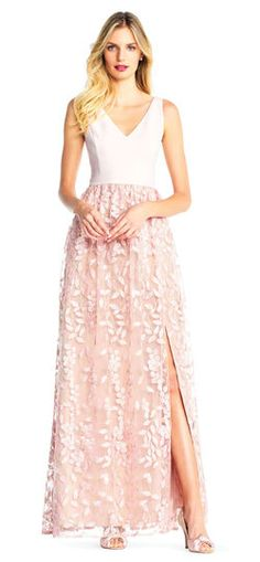 Adrianna Papell Color Block Gown With Petal Embroidered Tulle Skirt. Diana Wedding Dress, Wedding Wear, Tulle Skirt Dress, Lace Dress, Blush Pink Bridesmaid Dresses, Tulle Balls, Ball Skirt, Mob Dresses, Colorblock Dress