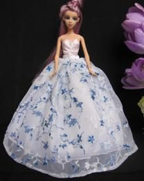 Wholesale Strapless Wisteria Vine Pattern Ball Barbie Doll Dress Clothes - DinoDirect.com