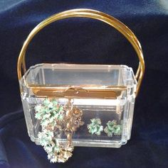Great vintage signed Judith Leiber clear (lucite) rectangle handbag with gold handles. A must have for the avid collector!