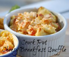 Crock Pot Cheesy Breakfast Souffle - easy and delish! Getcrocked.com