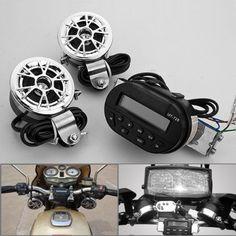 1 Set Waterproof Motorcycle MMC SD Card Slot Audio Radio Glow Light LCD Display Unit + 2x Handle Bar Speakers Amplifier Sound System