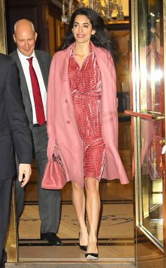 Amal Clooney Is All Smiles as She Showcases Baby Bump in Stylish Pink Outfit
