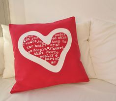 Pillow cover in red cotton for the love in your life, I ve got you under my skin. 50 x 50 cm