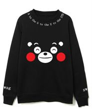 KPOP BTS 2017 nova versão Coreana da Primavera Outono homens mulheres Amantes casaco Moletom de Algodão preto Em Torno do pescoço de impressão Urso Kumamoto(China (Mainland))