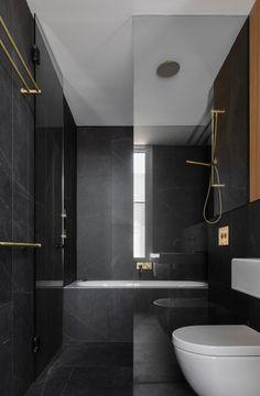 Matraville House bathroom with dark interior 3 Modern Small Bathroom Ideas - Great Bathroom Renovati Bad Inspiration, Decoration Inspiration, Bathroom Inspiration, Bathroom Photos, Bathroom Layout, Dark Bathrooms, Small Bathroom, Best Bathrooms, Master Bathrooms