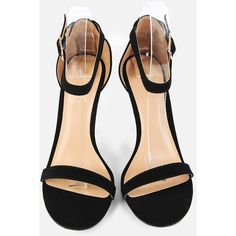 SheIn(sheinside) Single Sole Open Toe Heels BLACK ($28) ❤ liked on Polyvore featuring shoes, pumps, high heeled footwear, open toe shoes, black open toe pumps, black open toe shoes and black shoes
