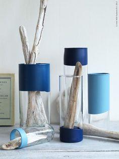 DIY - CYLINDER vaser doppade i blå färg
