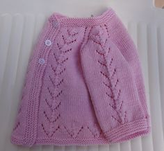 Free Pattern: Pink Knit Baby Cardigan Sweater by Filomena Lanzara