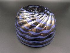 Metallic Glass Bowl, Purple and Black Bowl, Fruit Bowl, Candy Bowl, Copper Spiral Bowl, Purple Glassware, Glass Dessert Dish