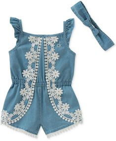 Calvin Klein Chambray & Lace Romper with Headband, Baby Girls #babygirl, #promotion