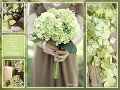 Collage by Thea Love Bear, Bridesmaid Dresses, Wedding Dresses, Green Flowers, Hydrangea, Thing 1, Table Decorations, Collages, Fashion
