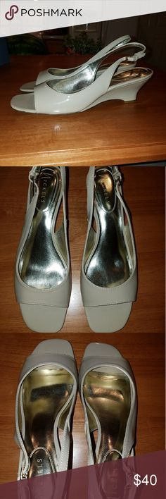 """Nude Size 11M Peep Toe Wedges Brand new in box shiny patent nude size 11M shoes. Peep toe with sling back adjustable closure, a tad over a 2"""" wedge height. Never worn, only tried on indoors. Nickels Shoes Wedges"""