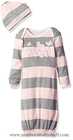 fdc3c3429cfd Baby Girl Clothes Burt s Bees Baby Girls  Stripe Organic Gown + Cap Set