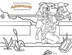 A coloring page for kids from the story, Escape from Egypt! Baby Moses pulled from the river.