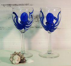 Whimsical Cobalt Blue Octopus Wine Glasses, Hand Painted, Set of Two, Beach Wedding Decor,Beach Wedding Gift, Christmas Gift by LisasShabbyCottage on Etsy https://www.etsy.com/listing/250954548/whimsical-cobalt-blue-octopus-wine