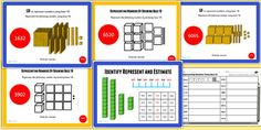 These Powerpoints are idea for teaching the Unit on identifying, representing and estimating numbers beyond They provide whole class or group teaching resources, using Base blank number Teaching Packs, Teaching Resources, Place Values, Packing, The Unit, Number, Learning, Bag Packaging, Studying