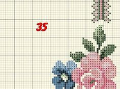 Geri Dönüşüm Projeleri Cross Stitch Rose, Cross Stitch Flowers, Cross Stitch Patterns, Hobbies And Crafts, Diy And Crafts, Pink And Blue Flowers, Corner Designs, Projects To Try, Kids Rugs