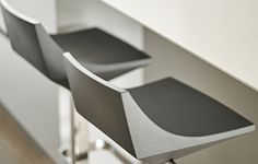 Contemporary silver grey bar stools. Scandinavian style island seating.