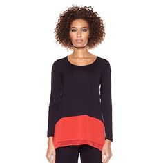 DG2 Knit and Woven Colorblock Tee at HSN.com. #HSN #FallFashion Love this colorblock shirt, perfect for fall weather!