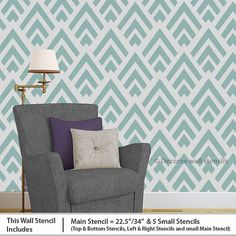 Larger stencil print of the same. Geometric stencil is a room wall stencils, stencils and room make over design are an easy way to completely revamp a living room both quickly and at Wall Stencil Designs, Wall Stencil Patterns, Decorating Your Home, Diy Home Decor, Decorating Ideas, Diy Wall, Wall Decor, Wall Art, Geometric Stencil