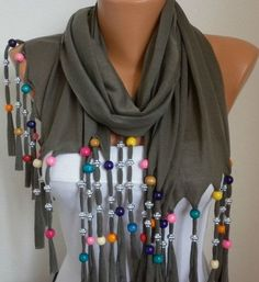 Items similar to ON SALE - Bead Scarf - scarf shawl - - Free scarf - Beige - fatwoman on Etsy Scarf Necklace, Scarf Jewelry, Fabric Jewelry, Scarf Sale, Bridal Shawl, Scarf Shirt, Creation Couture, Diy Clothing, Womens Scarves