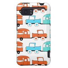 Retro Camping Trailer Turquoise Orange Vintage Car HTC Vivid Cover